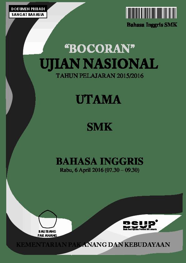 Bahasa Inggris 2016 : bahasa, inggris, BOCORAN, UJIAN, NASIONAL, B.Inggris, Yasin, Sarifudin, Academia.edu