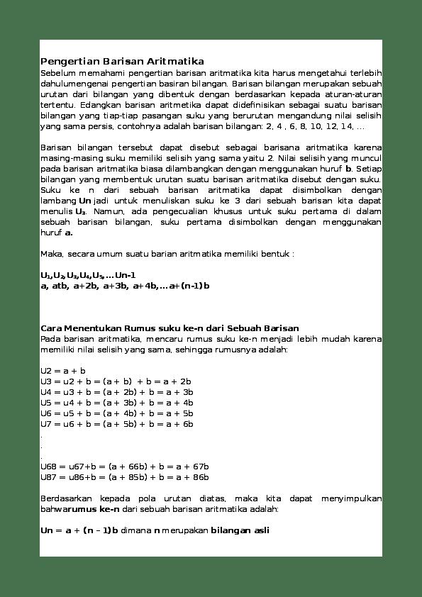 Pengertian Barisan Aritmatika : pengertian, barisan, aritmatika, Pengertian, Barisan, Aritmatika, Rinto, Saputra, Utomo, Academia.edu