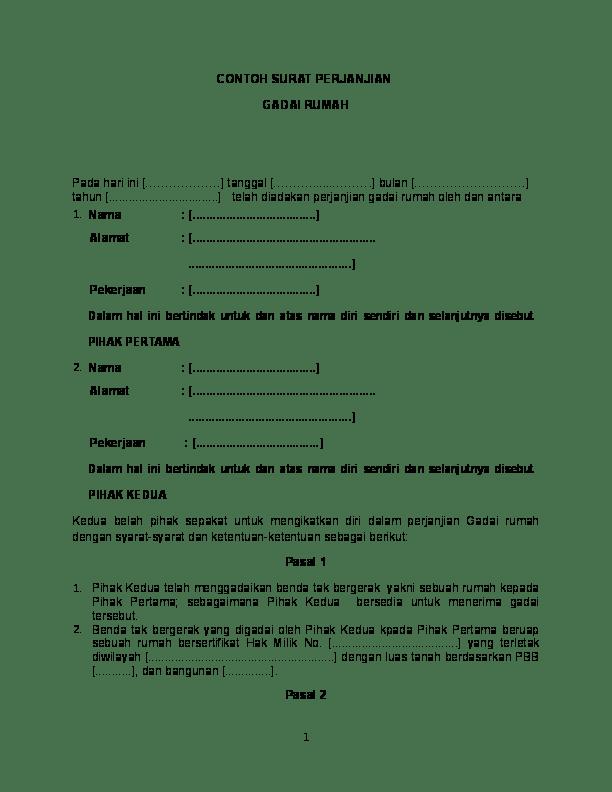Contoh Surat Perjanjian Pinjam Sertifikat Rumah - Berbagi ...