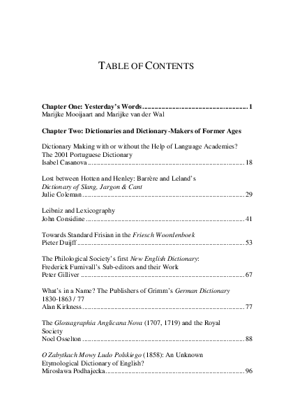 Dictionary Table Of Contents