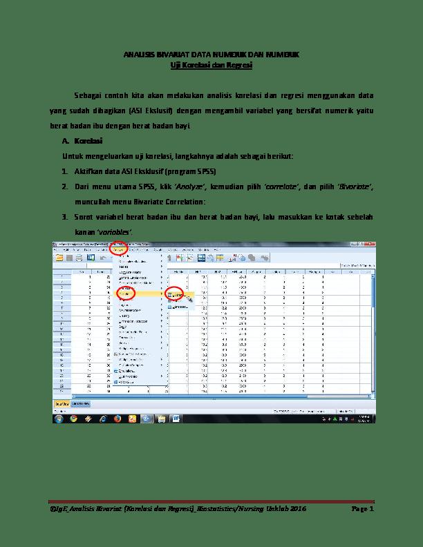 Pengertian Data Numerik : pengertian, numerik, ANALISIS, BIVARIAT, NUMERIK, Korelasi, Regresi, Purnawinadi, Academia.edu