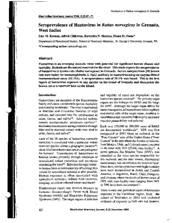 PDF) Seroprevalence of Hantavirus in Rattus norvegicus in Grenada ...