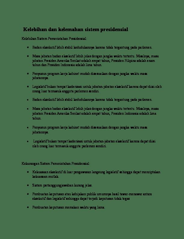 Kelebihan Dan Kelemahan Sistem Pemerintahan Presidensial : kelebihan, kelemahan, sistem, pemerintahan, presidensial, Kelebihan, Kelemahan, Sistem, Pemerintahan, Manfred, Nabuasa, Academia.edu