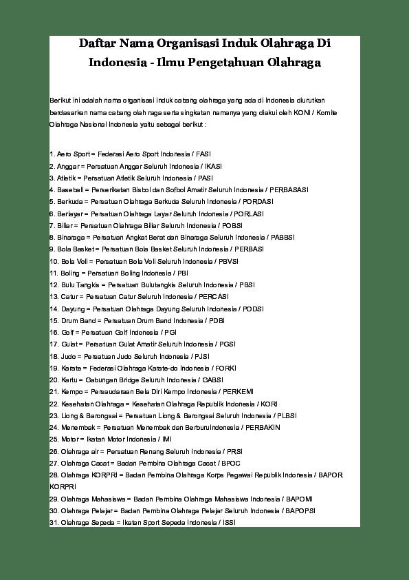 Induk Organisasi Cabang Olahraga Atletik Di Indonesia Adalah : induk, organisasi, cabang, olahraga, atletik, indonesia, adalah, Daftar, Organisasi, Induk, Olahraga, Indonesia, -Ilmu, Pengetahuan, Properti, Arridho, Academia.edu