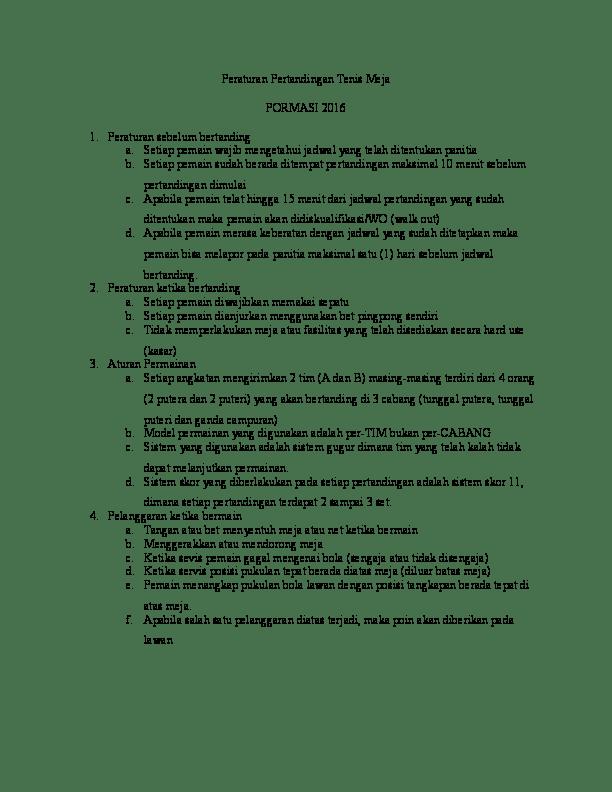 Peraturan Permainan Tenis Meja : peraturan, permainan, tenis, Peraturan, Pertandingan, Tenis, PORMASI, Derayan, Alamsyah31, Academia.edu