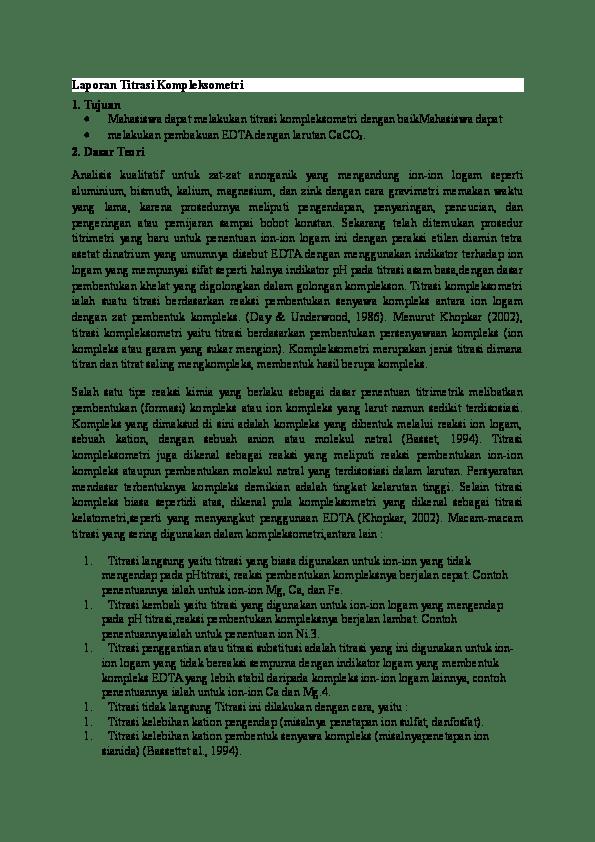 Titrasi Kompleksometri Pdf : titrasi, kompleksometri, Laporan, Titrasi, Kompleksometri, Tujuan, Anggraini, Academia.edu