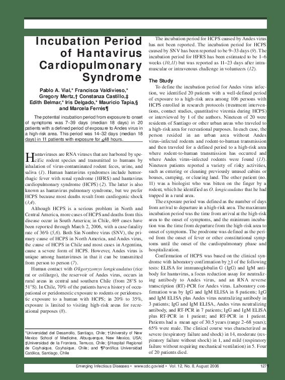 PDF) Incubation Period of Hantavirus Cardiopulmonary Syndrome ...