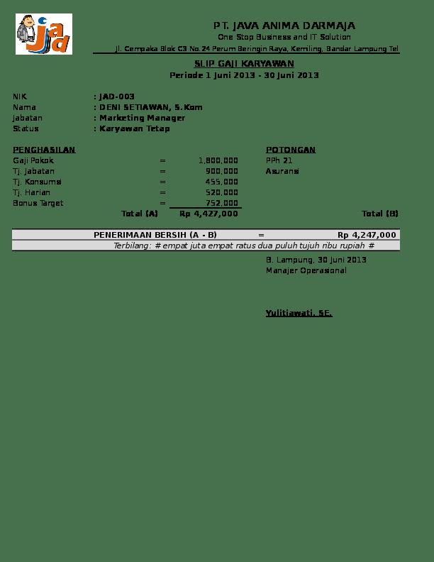 Contoh Slip Gaji 2019 : contoh, Contoh, Karyawan, Format, Excel, Reidha, Hershel, Academia.edu