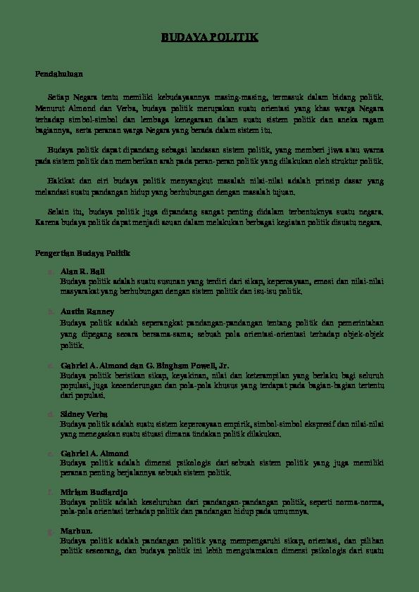 Ciri Budaya Politik Subjek : budaya, politik, subjek, BUDAYA, POLITIK, Valenski, Academia.edu