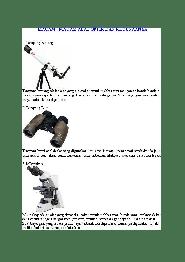 Alat Optik : optik, MACAM, -MACAM, OPTIK, KEGUNAANYA, Acocien, Selamana, Academia.edu