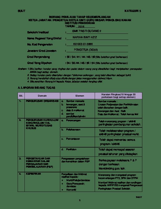 Borang Penilaian Tahap Kecemerlangan Guru Dg44 Docx Cuitan Dokter