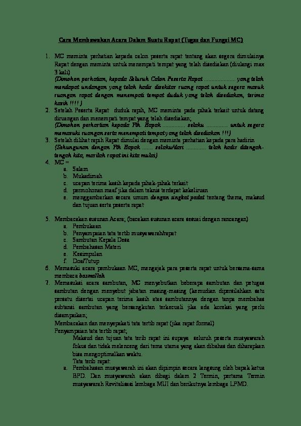 Tata Cara Menjadi Mc : menjadi, Membawakan, Acara, Dalam, Suatu, Rapat, (Tugas, Fungsi, Hasanudin, Academia.edu