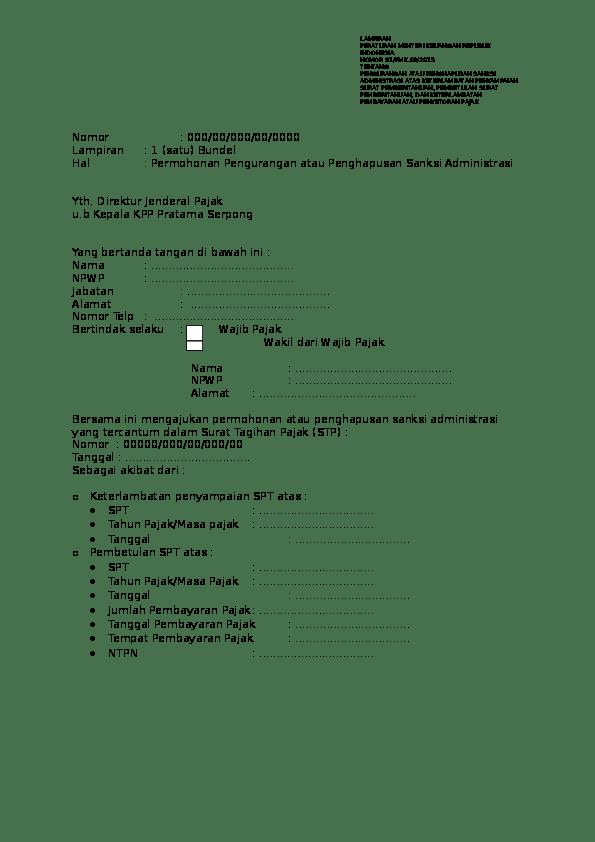 Contoh Surat Permohonan Penghapusan Sanksi Pajak : contoh, surat, permohonan, penghapusan, sanksi, pajak, Surat, Permohonan, Penghapusan, Denda, Pajak, Aminah, Azahra, Academia.edu