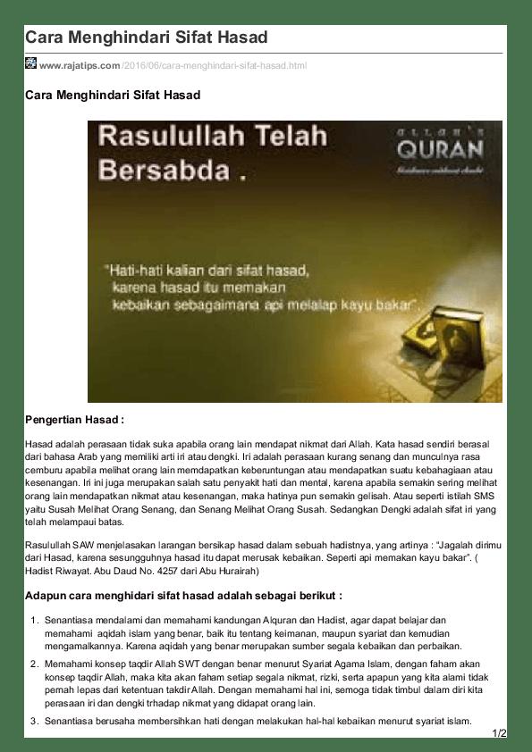 Pengertian Hasad : pengertian, hasad, Menghindari, Sifat, Hasad, Academia.edu