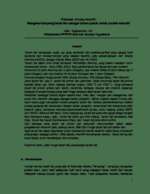 Persyaratan Tanah Liat : persyaratan, tanah, Wawasan, Tentang, Keramik:, Mengenal, Lempung/tanah, Sebagai, Bahan, Pokok, Untuk, Produk, Keramik, Prasetya, Academia.edu