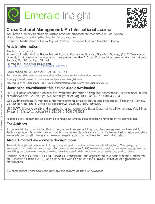 (PDF) Cross Cultural Management: An International Journal Workforce diversity in strategic human resource management models: A critical review of ...
