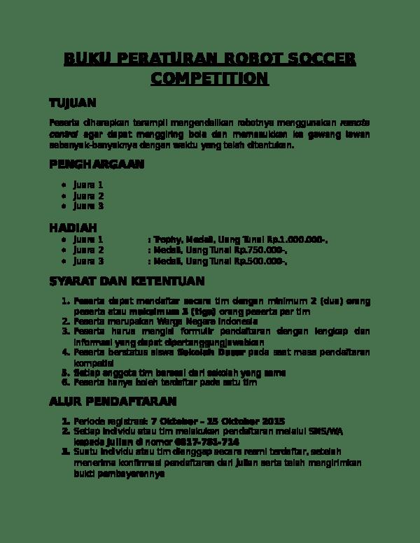 Peraturan Mini Soccer : peraturan, soccer, PERATURAN, ROBOT, SOCCER, COMPETITION, Susilawati, Marzuki, Academia.edu