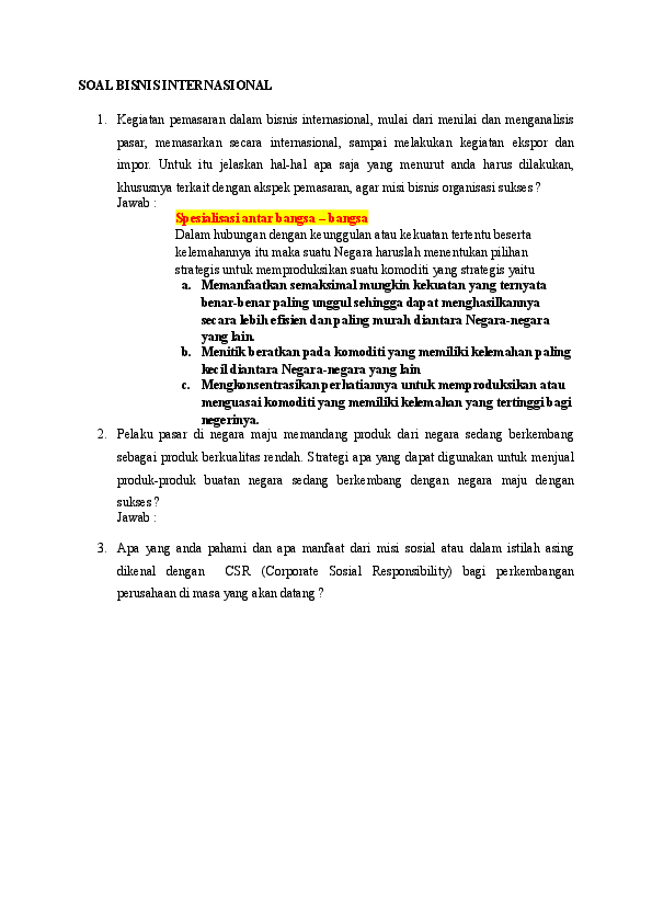Contoh Soal Pilihan Ganda Dan Jawaban Perdagangan Internasional Kelas 9 Berbagi Contoh Soal Cute766