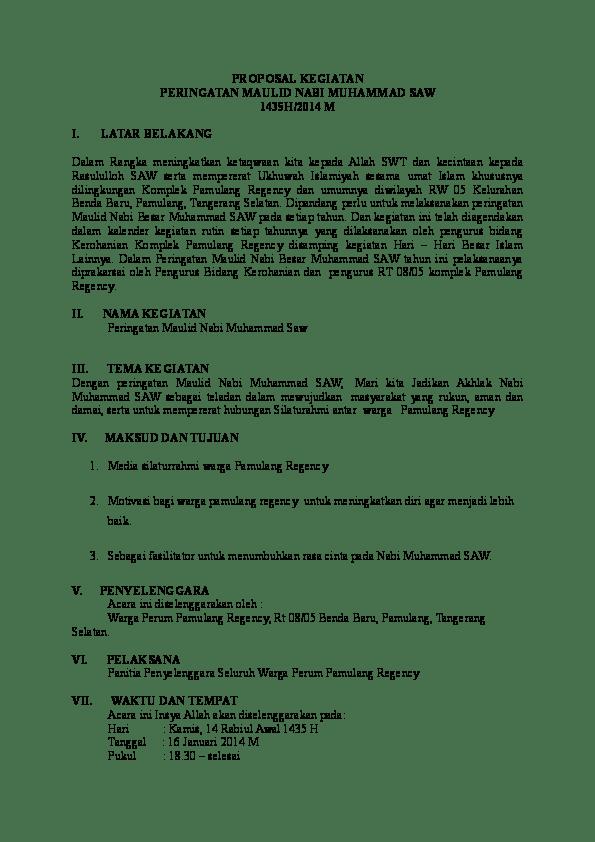 Contoh Proposal Maulid Nabi : contoh, proposal, maulid, Contoh, Proposal, Kegiatan, Maulid, Muhammad, Cute766