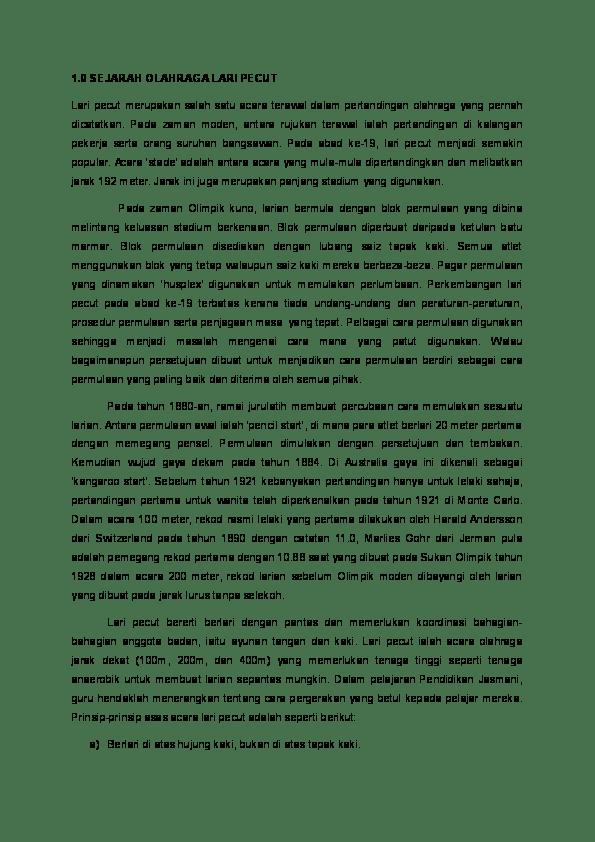 Sejarah Lari : sejarah, Sejarah, Olahraga, Pecut, CHING, Pju14_A04, Academia.edu