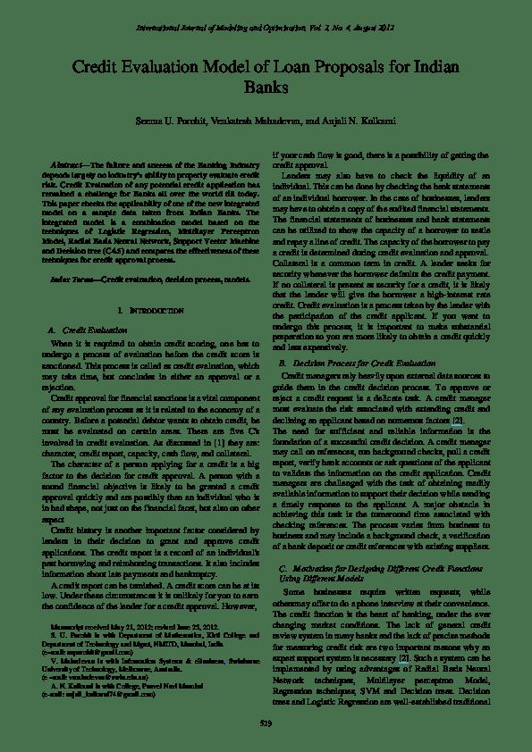 (PDF) Credit evaluation model of loan proposals for Indian Banks | Seema Purohit - Academia.edu