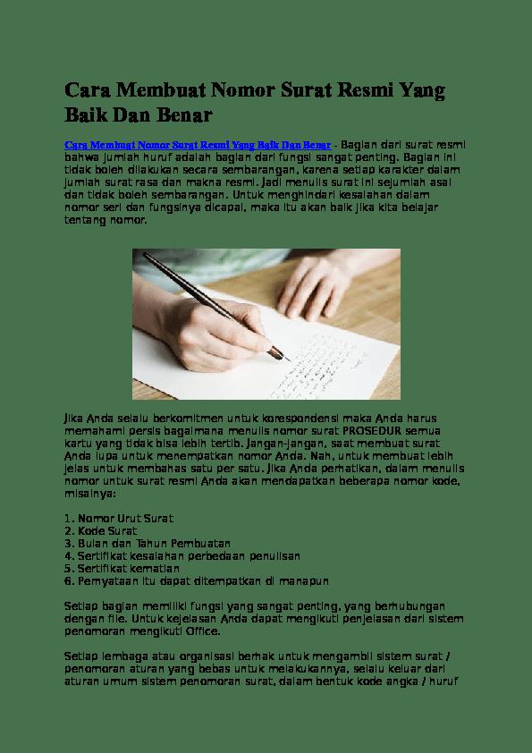 Membuat Nomor Surat : membuat, nomor, surat, Membuat, Nomor, Surat, Resmi, Benar, Asniarekaeci, Cantik, Academia.edu