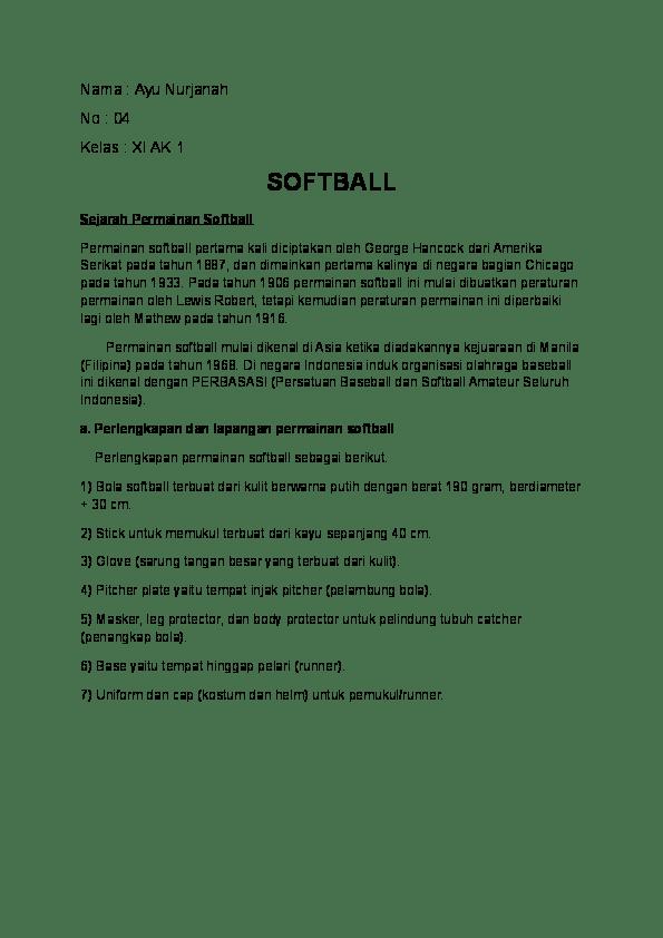 Peraturan Permainan Softball : peraturan, permainan, softball, Pemain, Menggunakan, Softball, Disebut, Sebutkan