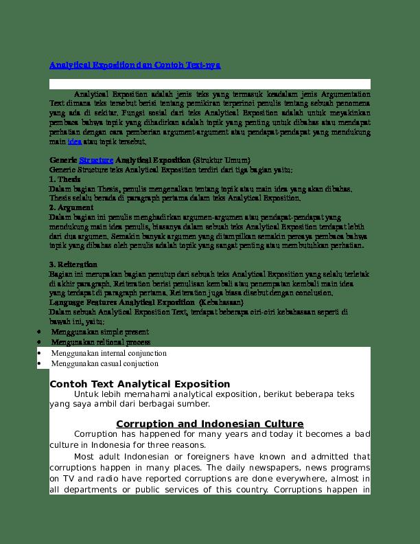 Analytical Exposition Dan Contoh Text Nya Ludi Arianto