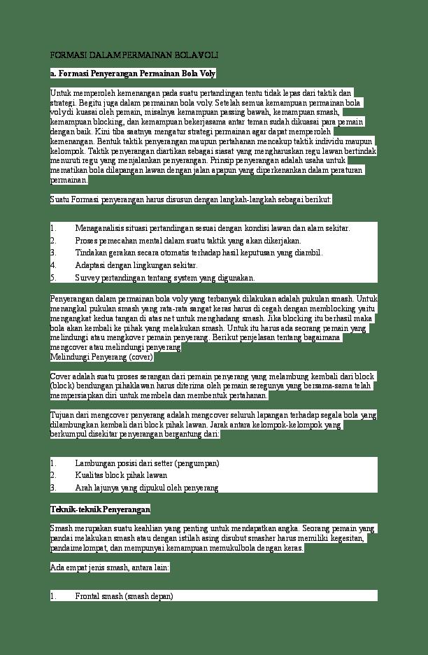 Taktik Dalam Permainan Bola Voli : taktik, dalam, permainan, FORMASI, DALAM, PERMAINAN, Muhammad, Miftah, Academia.edu