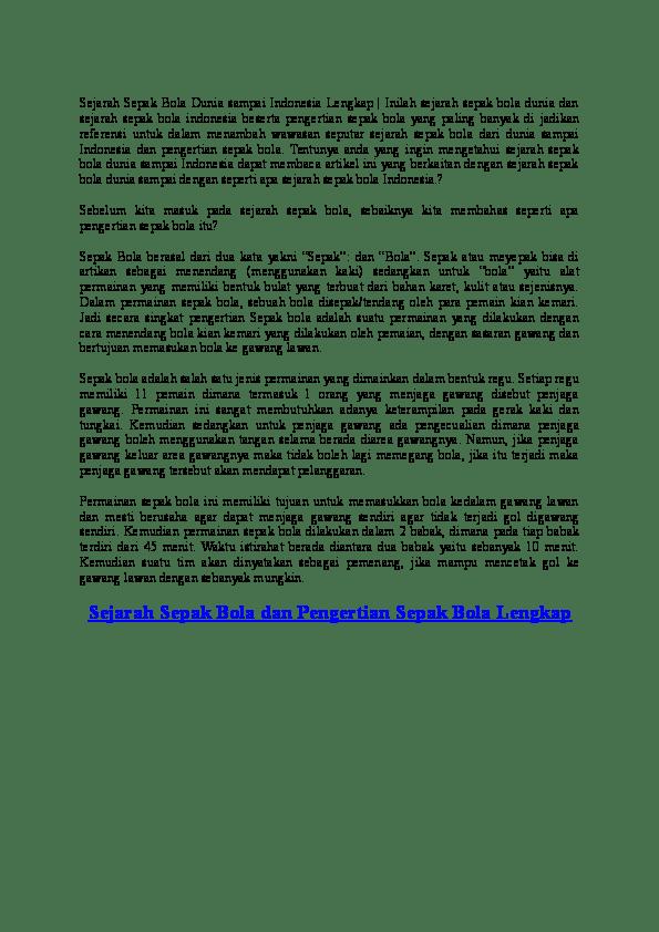 Sejarah Sepak Bola : sejarah, sepak, Sejarah, Sepak, Dunia, Sampai, Indonesia, Lengkap, Hendri, Syahputra, Academia.edu