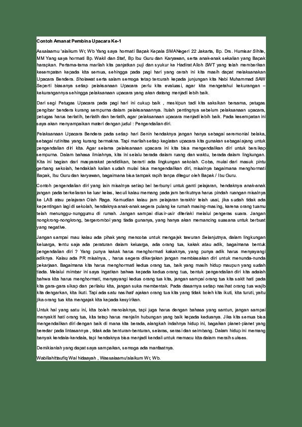 Contoh Amanat Pembina Upacara Tentang Kedisiplinan : contoh, amanat, pembina, upacara, tentang, kedisiplinan, Contoh, Amanat, Pembina, Upacara, Sdndua, Denggen, Academia.edu