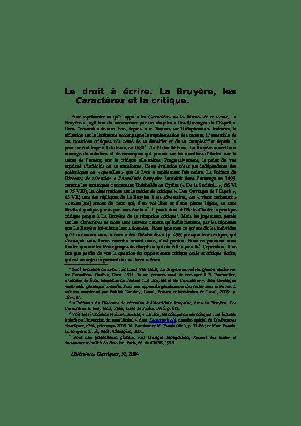 Les Caractères La Bruyère Texte : caractères, bruyère, texte, Droit, écrire., Bruyère,, Caractères, Critique, Bérengère, Parmentier, Academia.edu