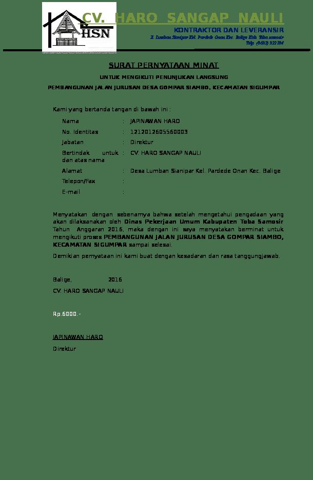 Surat Minat Pekerjaan : surat, minat, pekerjaan, SURAT, PERNYATAAN, MINAT, UNTUK, MENGIKUTI, PENUNJUKAN, LANGSUNG, Hutagaol, Academia.edu