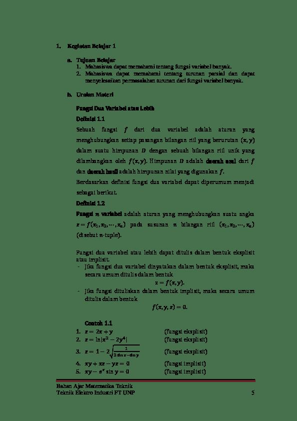 Berikut ini merupakan bank soal teknik elektro universitas siliwangi yang meliputi soal uts dan uas dari semester 1 sampai dengan 7. Pdf Bahan Ajar Matematika Teknik Teknik Elektro Industri Ft Unp 5 Matematika Teknik Habil Hermawanaziqer Academia Edu