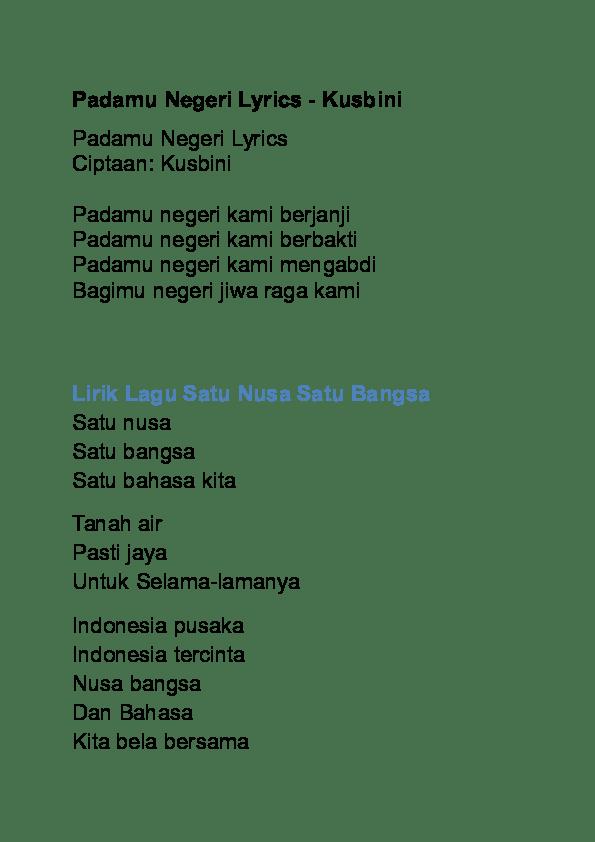 Lagu Bagimu Negeri Diciptakan Oleh : bagimu, negeri, diciptakan, Lirik, Padamu, Negeri
