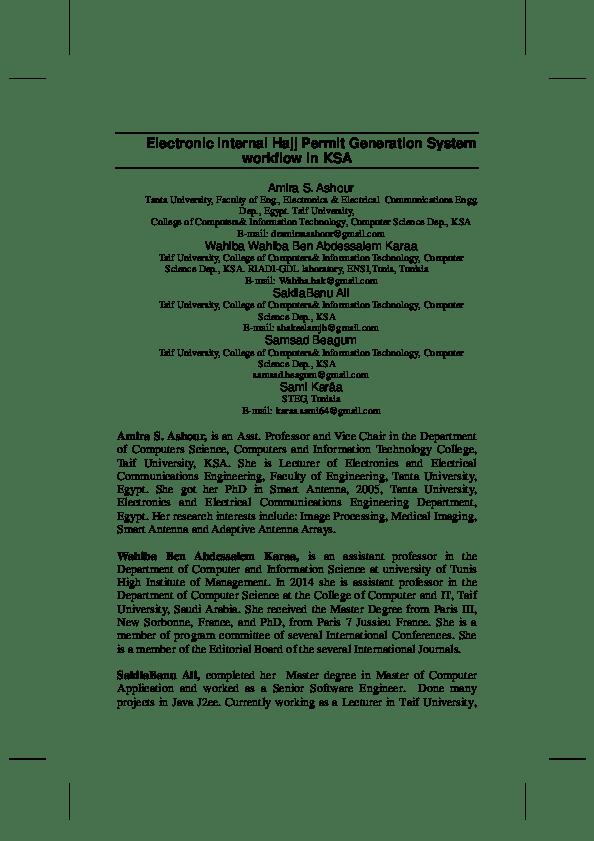 Pdf Electronic Internal Hajj Permit Generation System Workflow In