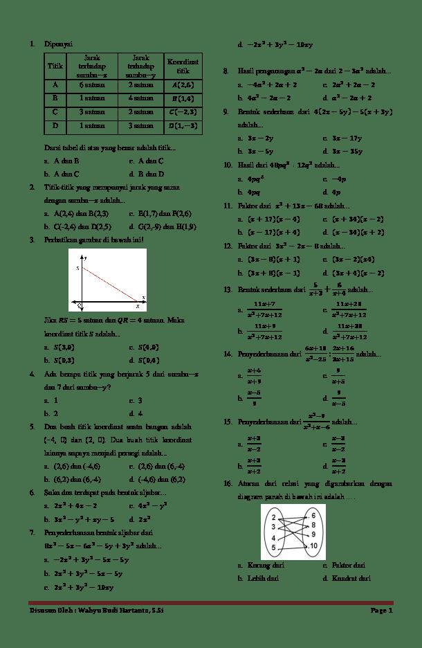Soal Uts Matematika Kelas 8 Semester 1 Kurikulum 2013 : matematika, kelas, semester, kurikulum, Matematika, Kelas, Semester