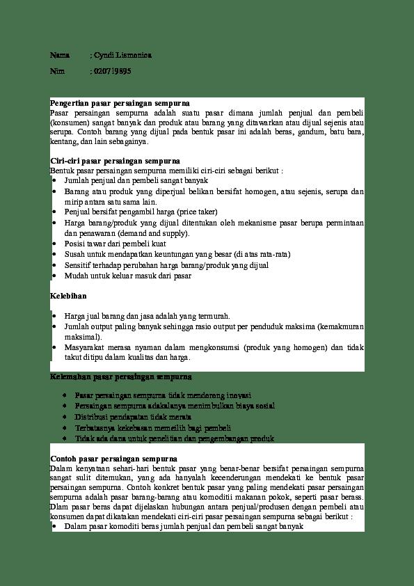 Kelebihan Pasar Persaingan Sempurna : kelebihan, pasar, persaingan, sempurna, Pasar, Persaingan, Sempurna.docx, Cyndi, Lismonica, Academia.edu