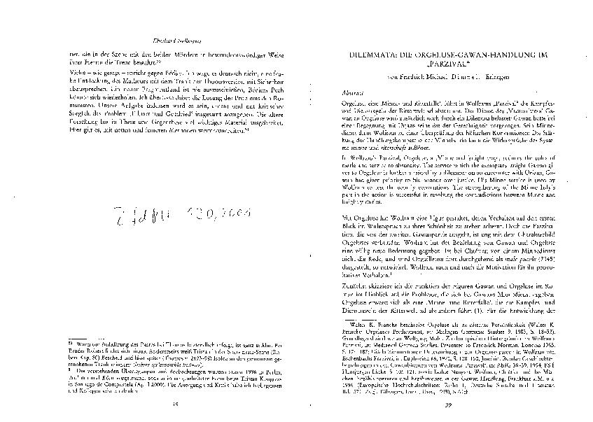 (PDF) Dilemmata: Die Orgeluse-Gawan-Handlung im Parzival | Friedrich Michael Dimpel - Academia.edu