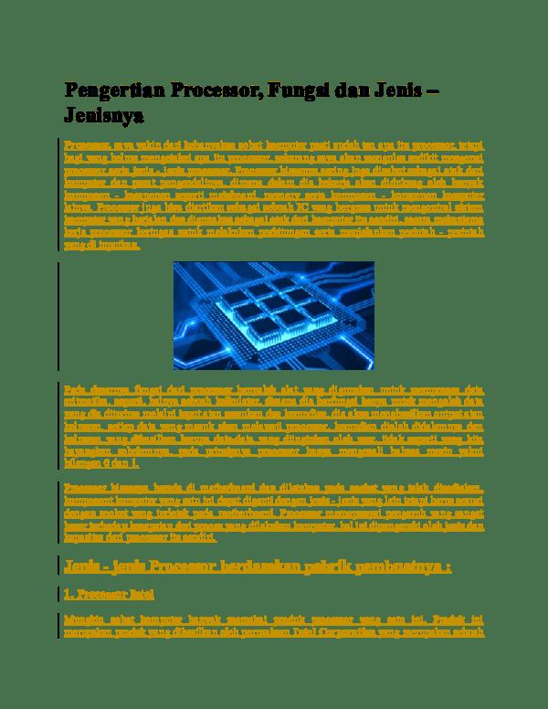 Jenis Jenis Prosesor : jenis, prosesor, Pengertian, Processor,, Fungsi, Jenis, Jenisnya, Andre, Putra, Academia.edu