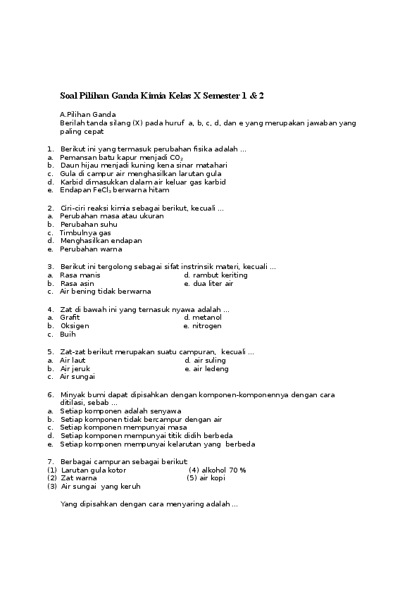 Materi Kimia Kelas 10 Semester 1 : materi, kimia, kelas, semester, Pilihan, Ganda, Kimia, Kelas, Semester, Irfan, Kamal, Firdaus, Academia.edu