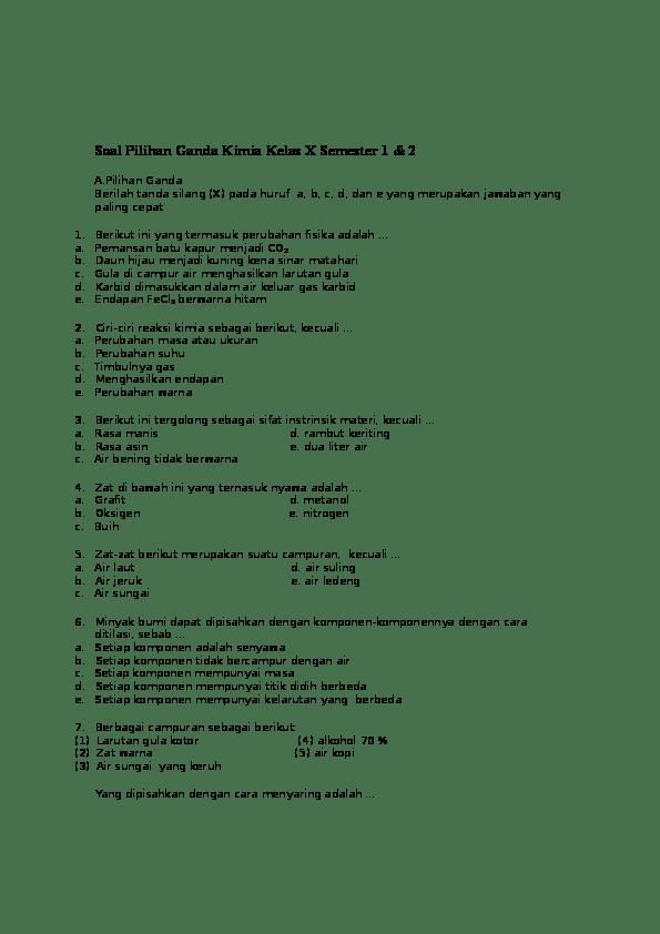 Contoh Soal Kimia Kelas 10 : contoh, kimia, kelas, Pilihan, Ganda, Kimia, Kelas, Semester, Irfan, Kamal, Firdaus, Academia.edu