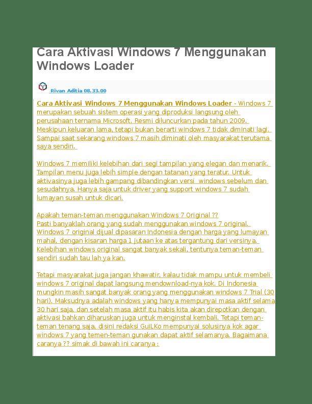 Cara Aktivasi Windows 7 Dengan Windows Loader : aktivasi, windows, dengan, loader, Aktivasi, Windows, Menggunakan, Loader, Syahrul, Hidayat, Academia.edu