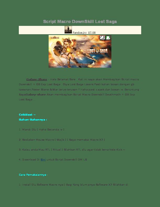 Cara Install Lost Saga : install, Script, Macro, DownSkill, Holong, Simanjuntak, Academia.edu