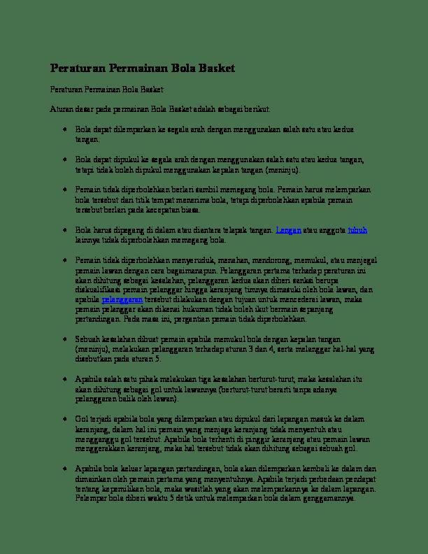 Aturan Dalam Basket : aturan, dalam, basket, Peraturan, Permainan, Basket.docx, Anggi, Saraswati, Academia.edu