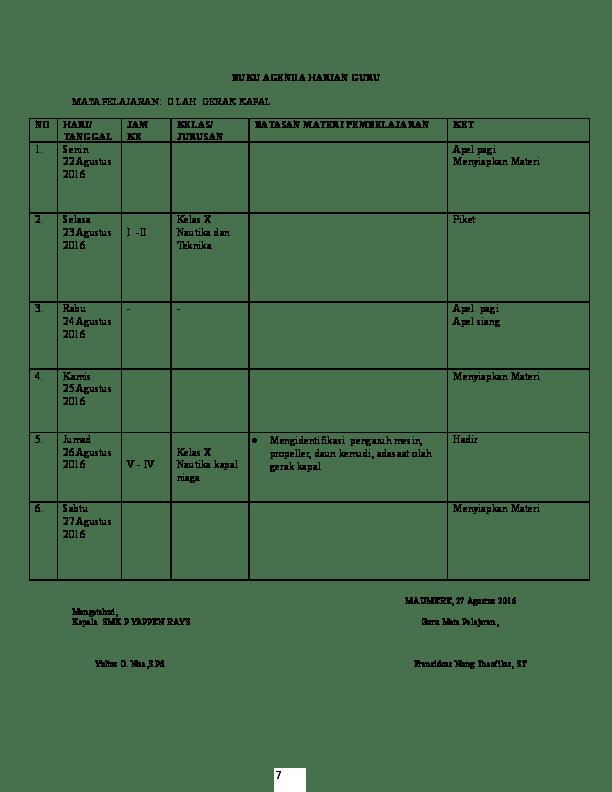 Jurnal Agenda Guru K13 : jurnal, agenda, Contoh, Agenda, Harian, Pelajaran, Seputaran