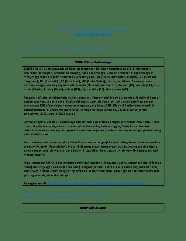 Contoh Laporan Hasil Observasi Lingkungan Sekolah Contoh Fair Cute766