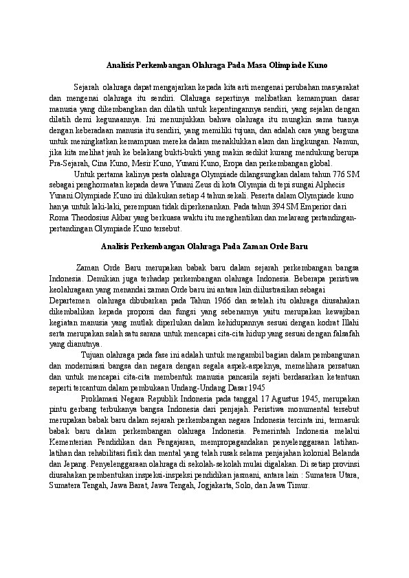 Sejarah Perkembangan Olahraga Di Indonesia : sejarah, perkembangan, olahraga, indonesia, Analisis, Perkembangan, Olahraga, Olimpiade, Chairuna, Chana, Academia.edu