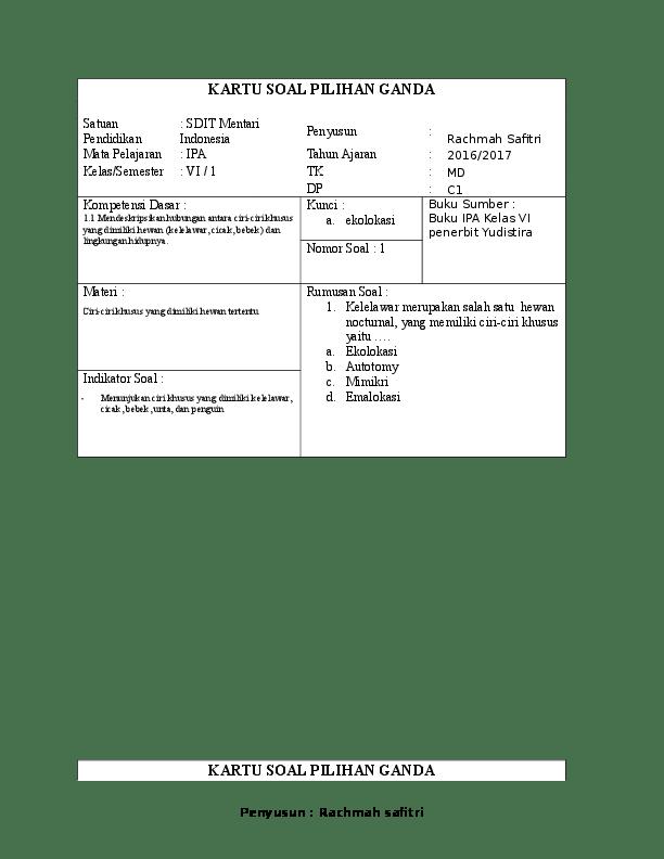 Contoh Kartu Soal : contoh, kartu, KARTU, PILIHAN, GANDA, Uraian, KELAS, VI.docx, Rachmah, Safitri, Academia.edu