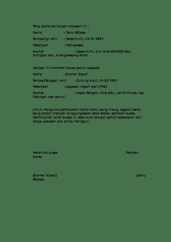 Format Surat Kuasa Doc : format, surat, kuasa, Surat, Kuasa.docx, Widjaya, Academia.edu